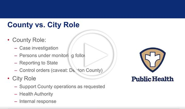 Slide explaining how the city provides support as the county monitors the spread of viruses.