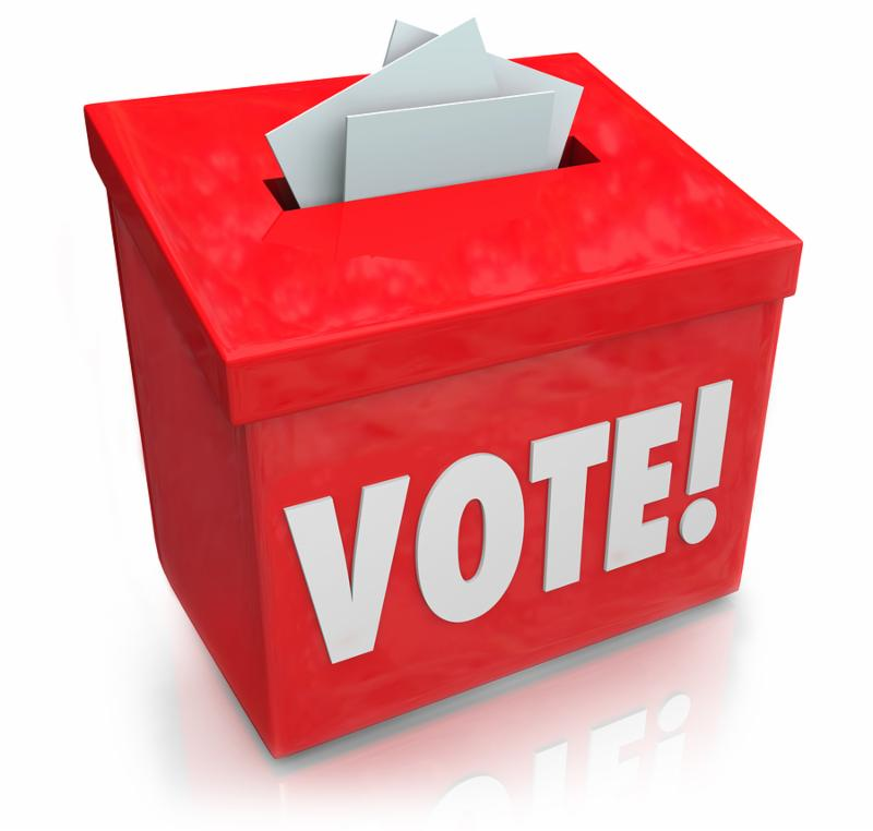 The word Vote on a red ballot box for collecting votes and ballots in a democratic election to choose a new president, governor, representative, senator, congressman or other official or