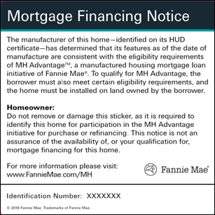 Example of the MH Advantage sticker