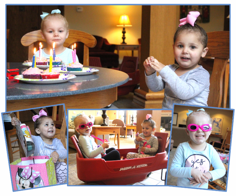 Collage of toddler_s birthday celebration_ includes cupcakes_ gifts_ and nifty pink sunglasses