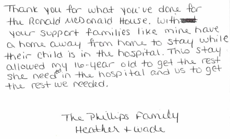 handwritten thank you note from family