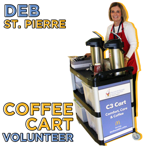 woman behind coffee cart with graphic text overlay