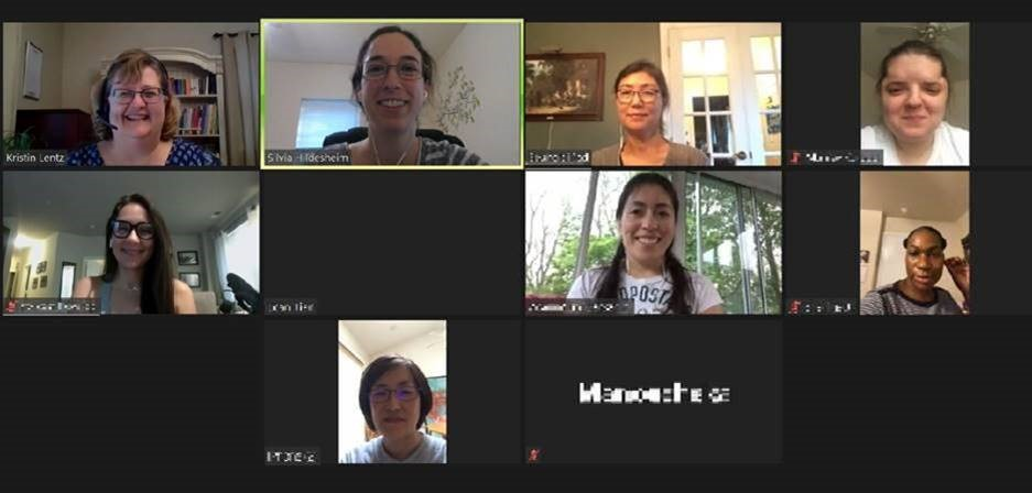 Teacher Assistant Graduates with teachers on a zoom call