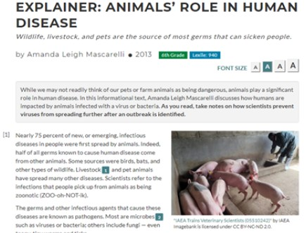 """Screencap of the article """"Animal's Role in Human Disease"""""""