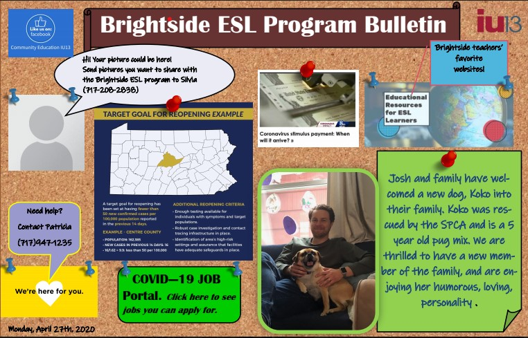 Image of messages on the Brightside Bulletin