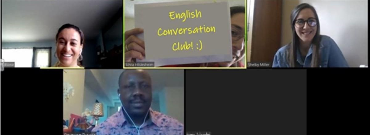 A group of students using zoom for their English conversation club.
