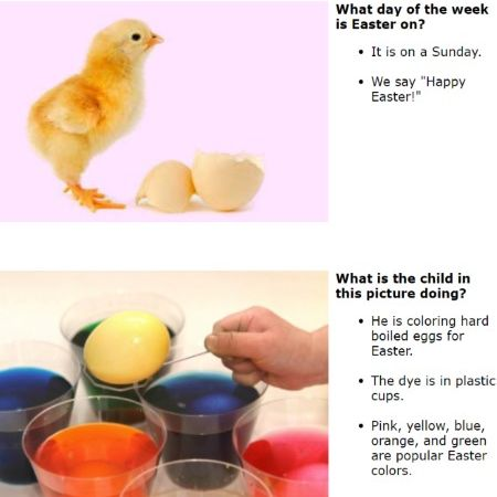 A baby chick and dyeing eggs