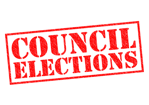 COUNCIL ELECTIONS red Rubber Stamp over a white background.