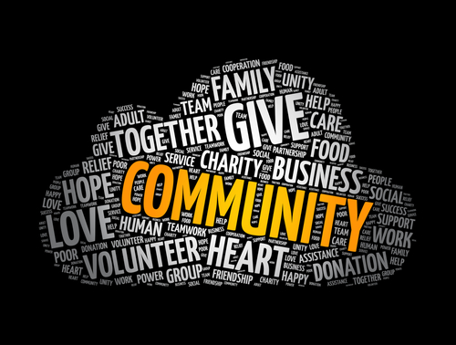 Community word cloud collage_ social concept background