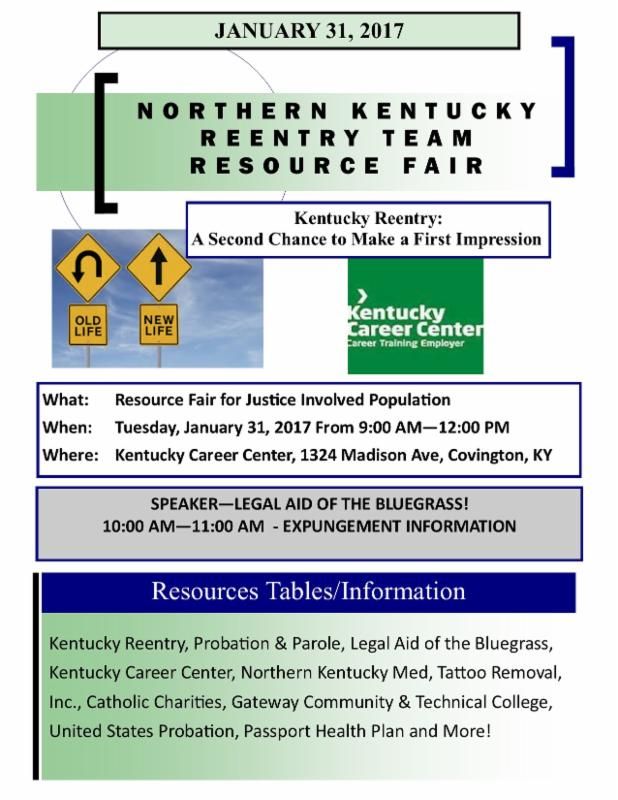 NKY - Resource Fair for Returning Citizens! Jan 31, 2017