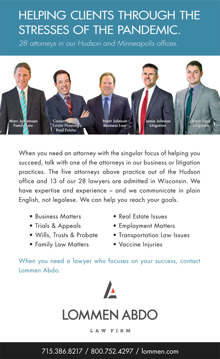Lommen Abdo Law Firm's ad about Hudson Wisconsin office
