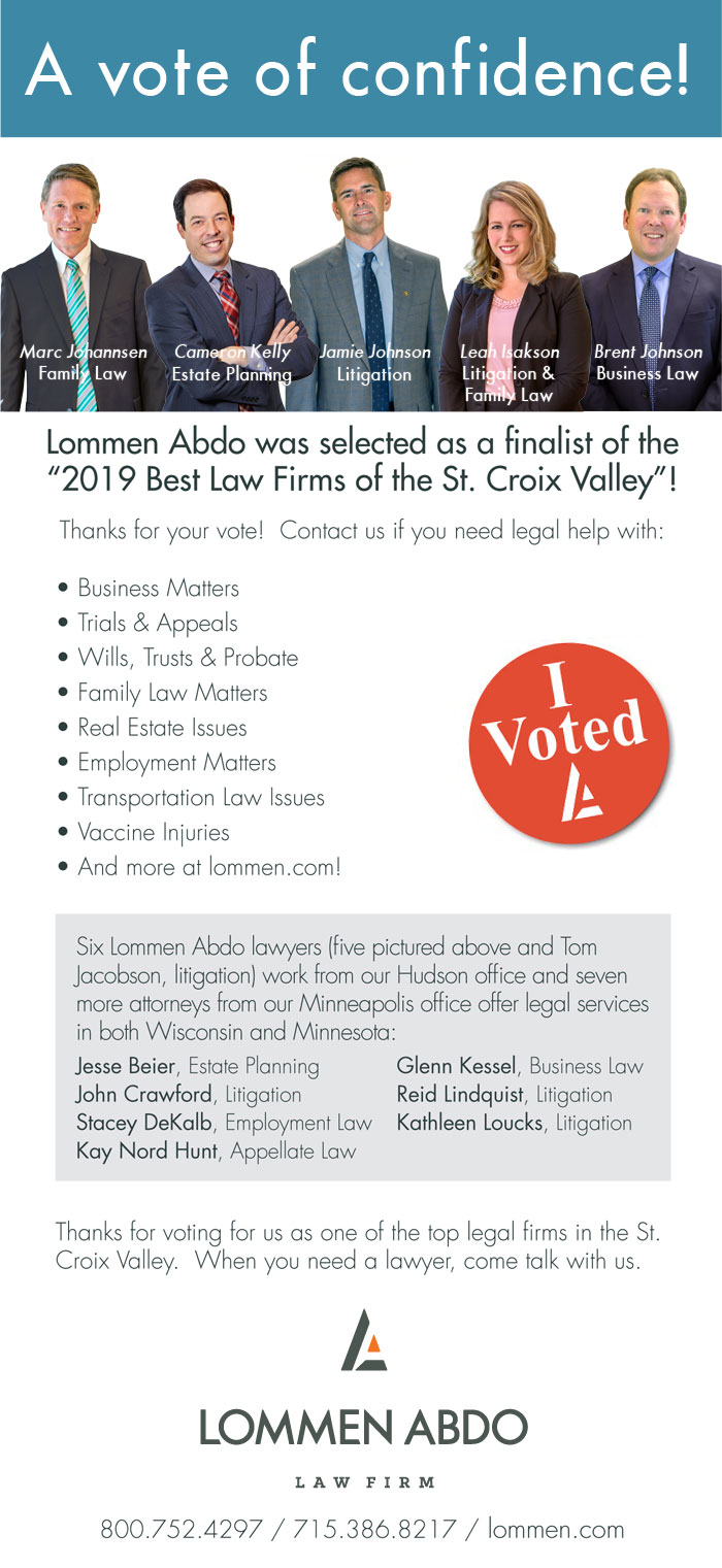 Lommen Abdo Ad in St. Croix Valley Magazine with five attorneys pictured.
