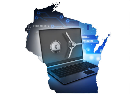Laptop with a lock shown within a map of Wisconsin