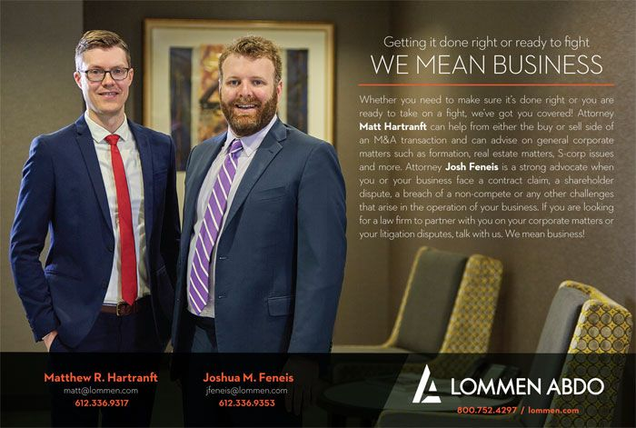Upsize Minnesota ad with Lommen Abdo attorneys Matt Hart and Josh Feneis May-June 2019
