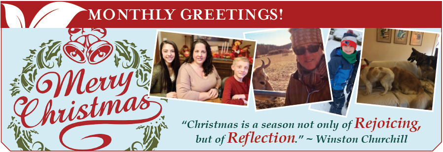 Photo left to right: laura office manager center with daughter Lauren and son Ethan; Bonnie, Kelly's partner,  at the animal sanctuary; Ryan hits the slopes with his family; The dogs take over Thanksgiving!