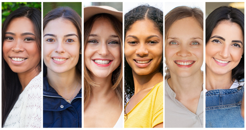 Happy positive college students portrait set. Cheerful diverse young women in casual multiple shot collage. Positive human emotions concept