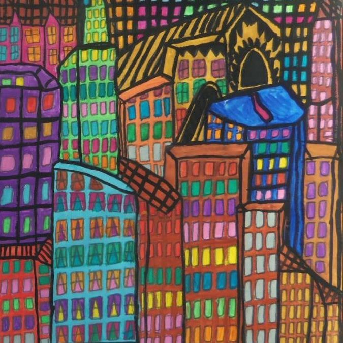 close up of a colorful marker drawing of an endlessly crowded city of skyscrapers