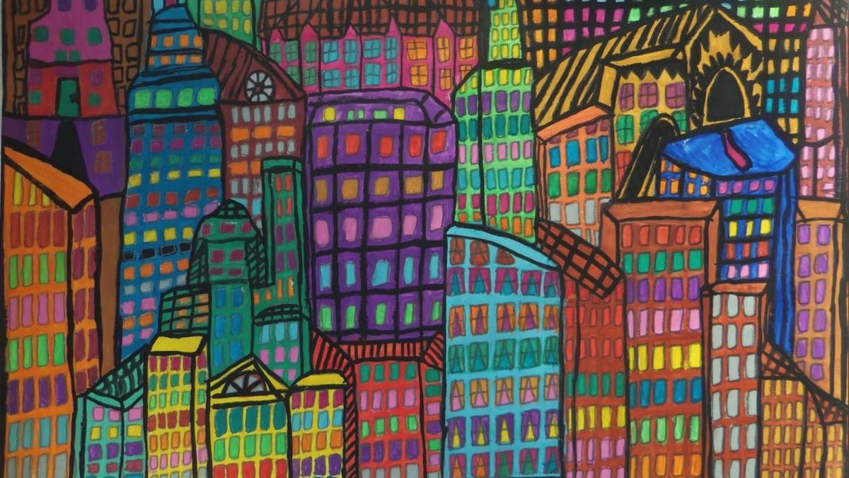 Drawing of many colorful buildings/skyscrapers with colorful windows overlapping and squishing together.