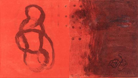 dashes of scribbles and texture on top of layers of red - some scribbles seem to take the shapes of people, some don't.