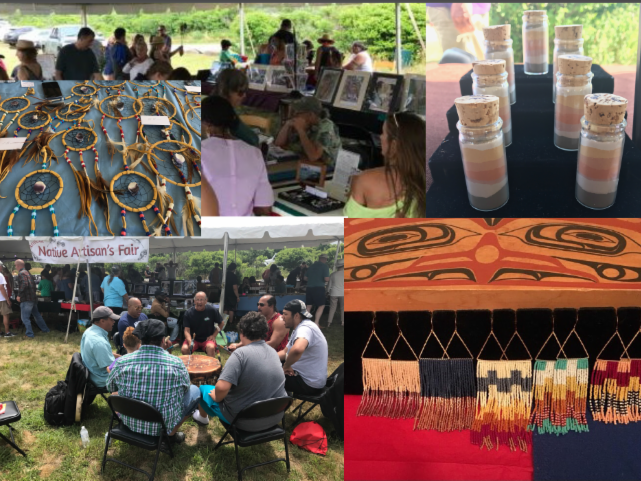 a collage of pictures of the Aquinnah Cultural Center outdoor Indigenous Artists' Market. People view artwork and jewelry at booths in a tent. A group of singers sits around a drum, chanting.