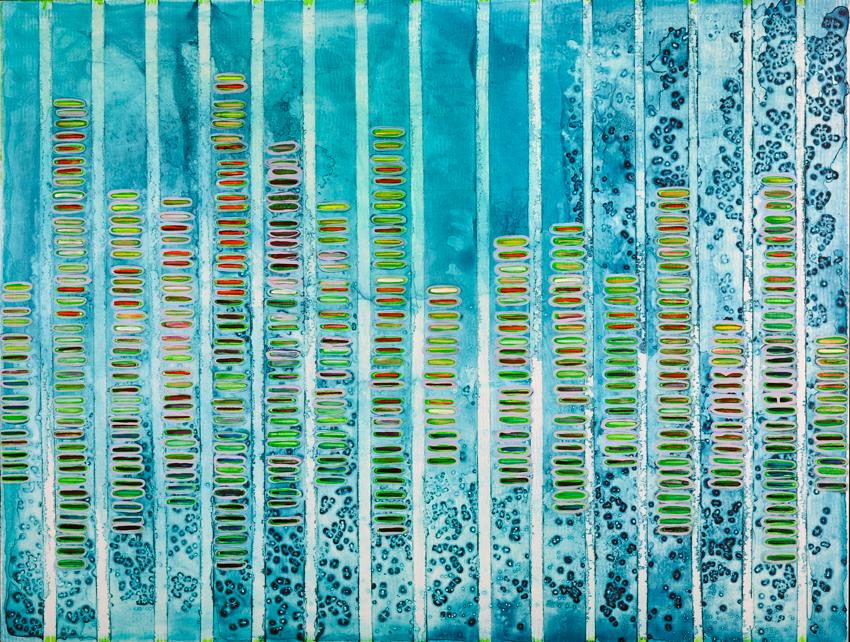 Collage representing Molecules of Music Data with ink, graphite, acrylic, nail polish, enamel, gouache on clay board. Abstract green dots stacked within blue stripes.