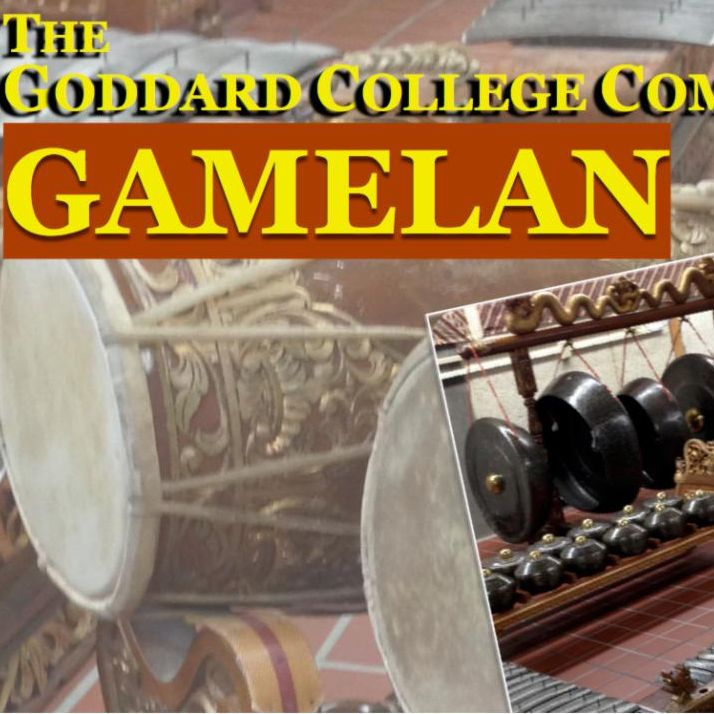 image from a flyer of several photos of a gamelan - a giant instrument that looks as though it is made up of cast iron pots and pans suspended on strings.