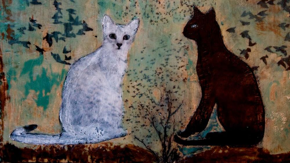 smudgy, smokey painting in muddy colors of a white cat and a black cat staring at each other over a tree silhouette with leaves that turn into flocks of birds
