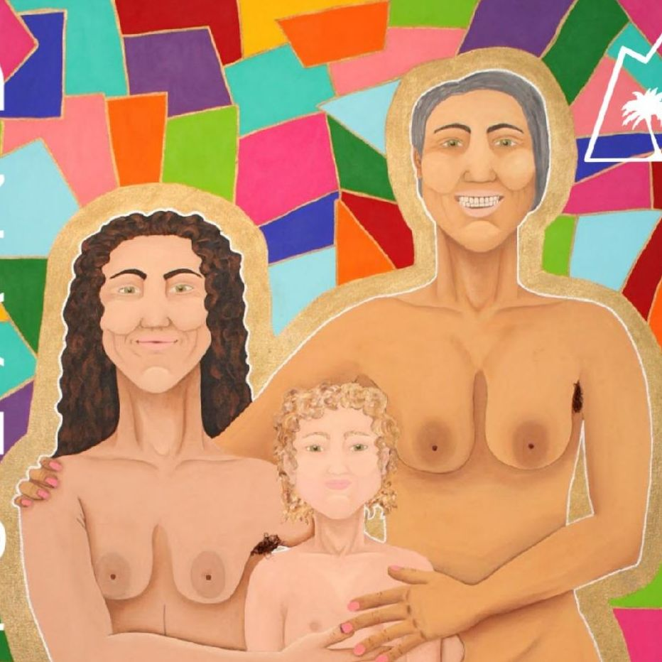 Colorful illustration of lesbian mothers smiling with with their child.