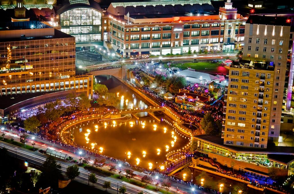 aerial view of bonfires on the river through downtown Providence, Rhode Island