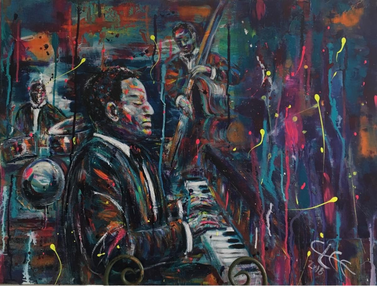 Cindy Lee's portrat of Oscar Peterson features a black man at a piano with a jazzy band in the background. colorful paint splatters playfully suggest vibrant music.