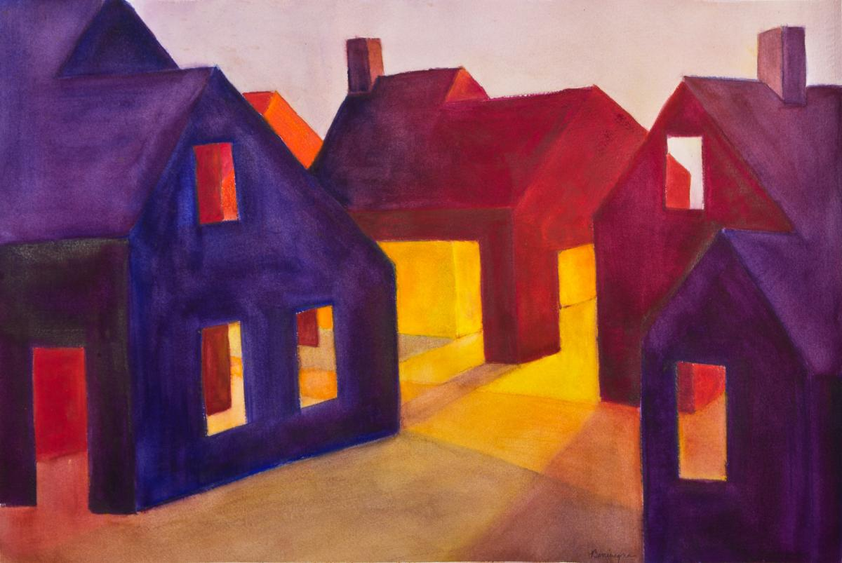 a painting of four barn-like structures in jewel-tone colors. Open doors and windows from the barns are casting light outside the structures.