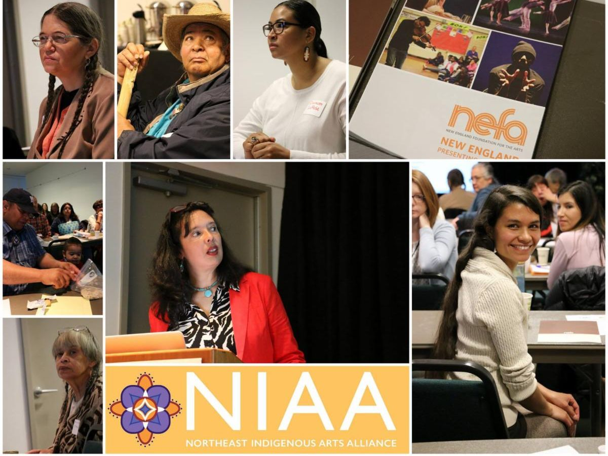 Collage of photos from Northeast Indigenous Arts Alliance events - focused on professional development conferences, collaboration with NEFA, and community dialogue.