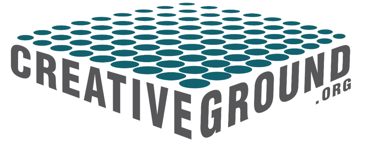 "CreativeGround.org logo - a bed of teal polka dots is framed by the word ""CreativeGround"""