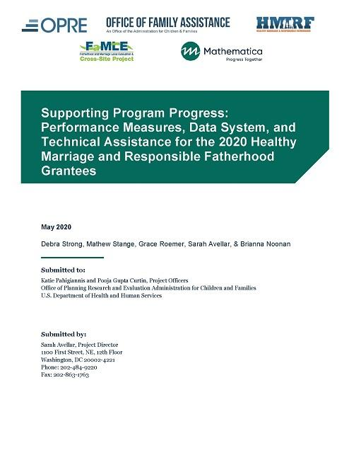 Supporting Program Progress Performance Measures Data System and Technical Assistance for the 2020 Healthy Marriage and Responsible Fatherhood Grantees cover page