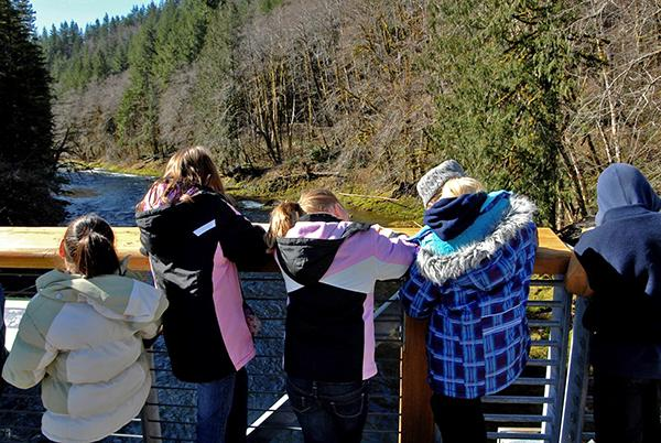 Students looking at the Wilson River from the bridge at the Tillamook Forest Center