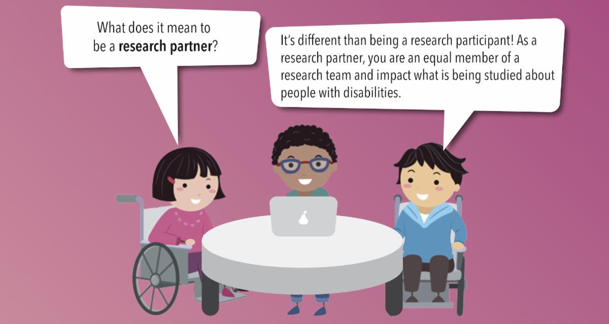 Three youth (two of whom are in wheelchairs) sitting around a table. One youth asked about what it means to be a research partner. Another youth responded that as a research partner, you are an equal member of a research team.