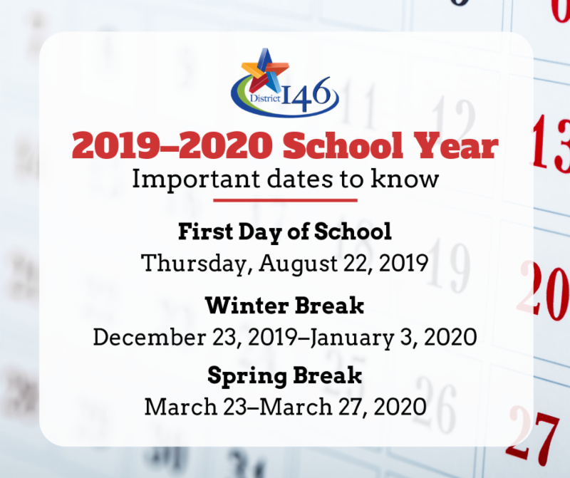 Graphic with dates for next school year