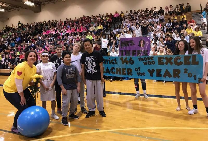 Mrs. Tuffs advisory class honors her at an all-school assembly.