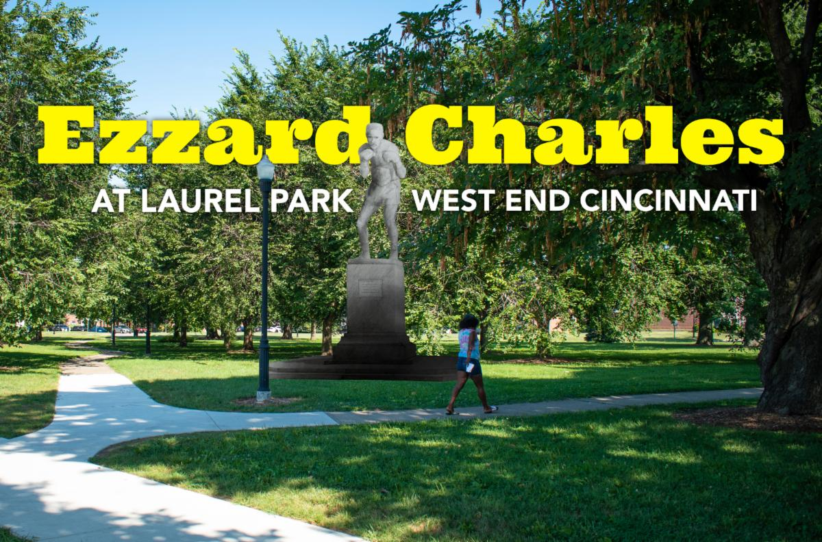 Ezzard Charles statue rendering in Laurel Park