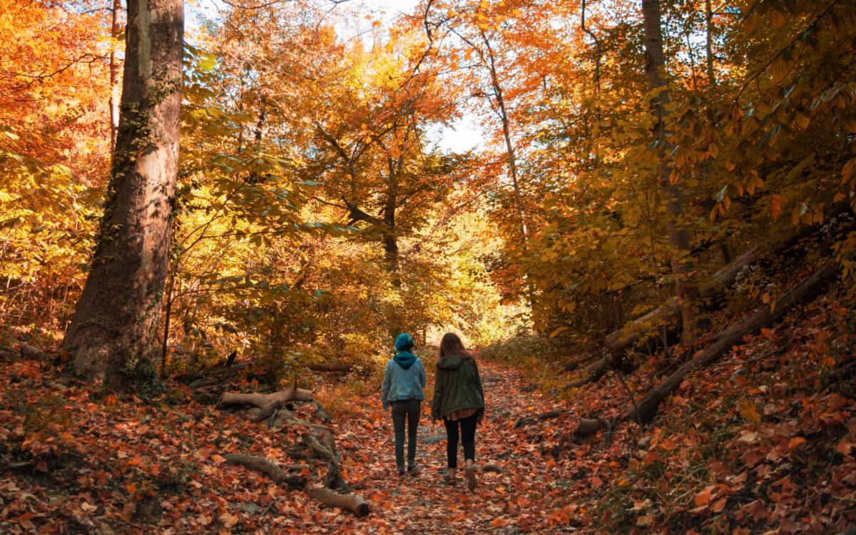 Two people hiking in Burnet Woods