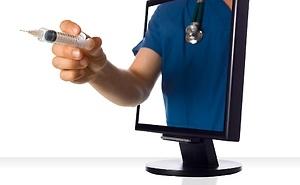 Nurse reaching through computer screen with needle