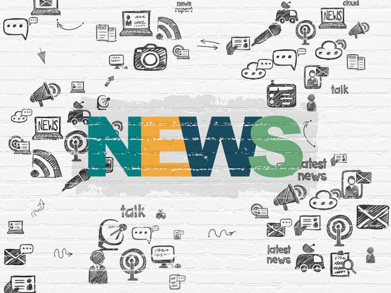 News concept  Painted multicolor text News on White Brick wall background with Scheme Of Hand Drawn News Icons, 3d render