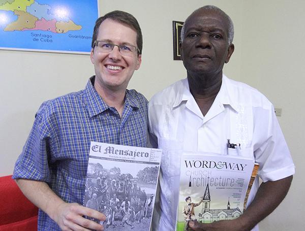 Word_Way Editor Brian Kaylor _left_ with Marciano Marcel Bozil_ director of El Mensajero _The Messenger_ Baptist magazine in Cuba.