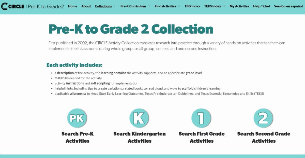 CIRCLE Activity Collection webpage