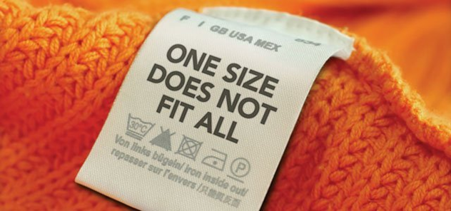 One size does not fit all clothing tag