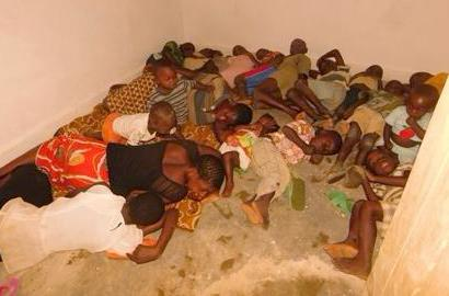 Children sleeping after being on the run in DR Congo