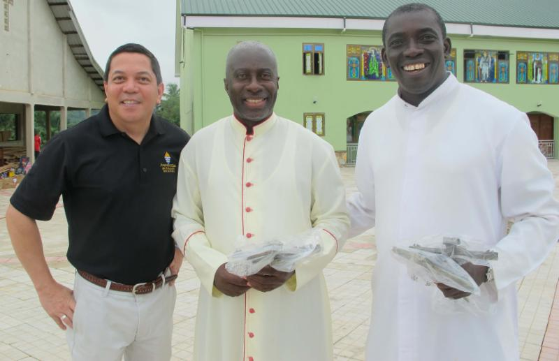Deacon Rick Medina, CWM Executive Director, with Msgr. Simon and Fr. Anthony in Ghana