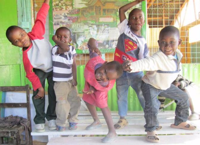 Kenyan children acting silly for the camera