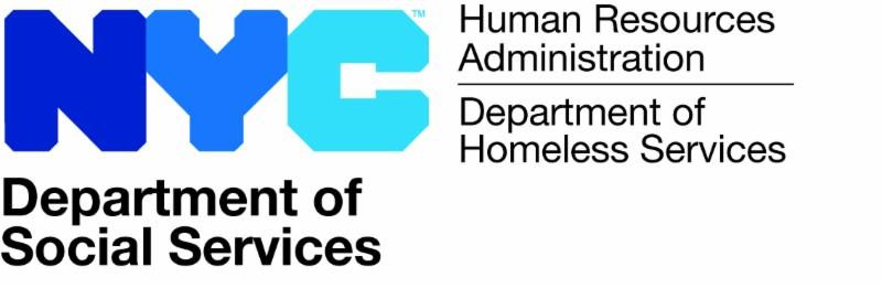 NYC Department of Social Services logo. Subheading Human Resources Administration and Department of Homeless Services.