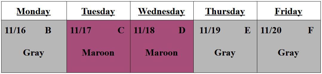 Nov 16-20 Schedule